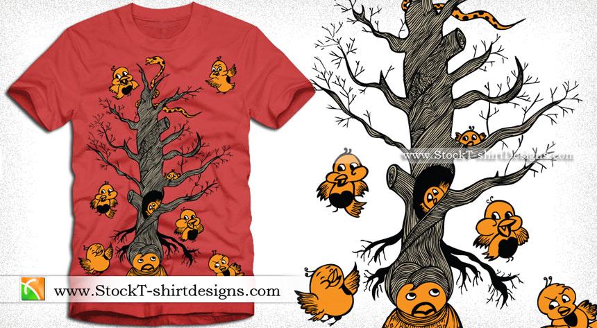 Vector T Shirt Design With Cute Bird Cartoon Tree C4d 3ds dae dxf fbx obj wrl oth. stock t shirt designs