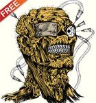 Free Vector Apparel T-shirt Design with Demon Man