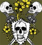 Vector Tee Design with Skulls, Shield, Sword and Flowers