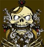 Vector Skull with Snake and Skeleton Hand T-shirt Design