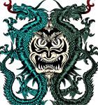 Demon with Dragon Vector T-shirt Design