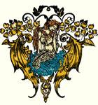 Mermaid Angel with Flowers Vector Tee Graphic Design