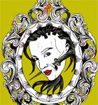Woman with Vintage Decorative Floral Frame Vector T-shirt Design
