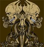 Vintage Skull Vector Tee Design