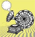 Vintage Gramophone Vector Tee Graphics Design