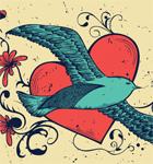 Flying Bird with Heart Vector Tee Shirt Design