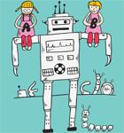 Cute Cartoon Children Playing with Robot T-shirt Design Vector